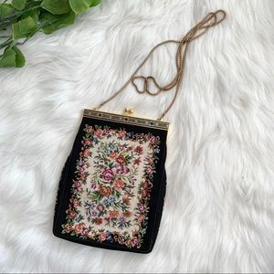 Vintage | Small Black Floral Evening Back Chain